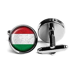 Hungary Hungarian Flag Ungarn Ungarisch Flagge Rhodium Silber Manschettenknöpfe
