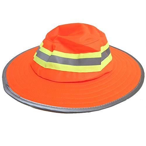High Visibility Ranger Hat Reflective Safety Boonie Adjustable Neck Strap Orange
