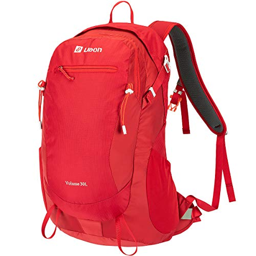 Ubon Camping Backpack 30L Waterproof Breathable Pack for Men Women Unisex Red