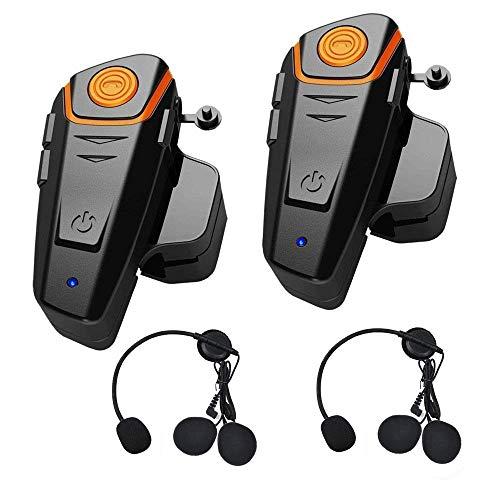 THOKWOK Motorcycle Bluetooth Headset,BT-S2 1000m Helmet Bluetooth Communication Systems Ski Helmet Headphones Bluetooth Intercom Walkie-Talkie for Snowmobile,Up to 3 Riders(Pack 2)
