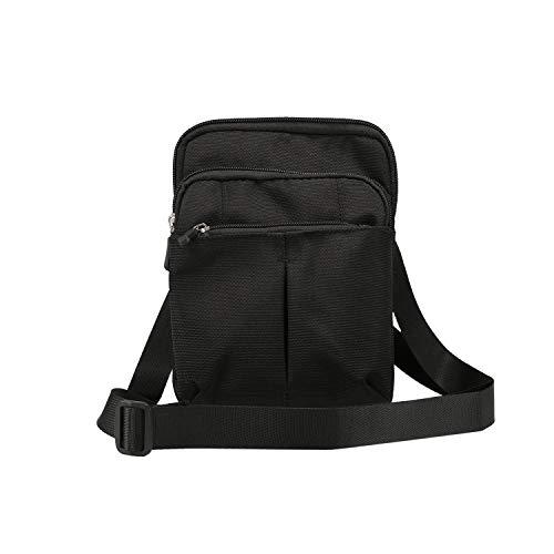 GUOQING Bolsa de mensajero para iPhone 11 Pro Max, Xs Max, XR, 7, 8 Plus, bolsa de mano para deportes al aire libre (color: negro)
