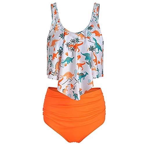 TUDUZ Dinosaurier Drucken Bademode Bikini Damen Set Push Up für Kleine Brüste High Waist, Zweiteiliger Bikini Set Hohe Taille Bikinihose mit Langem Volant Tankini(Medium,C-Orange)