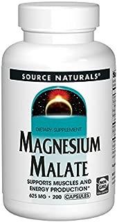 Source Naturals Magnesium Malate 625mg Per Serving Essential Magnesium Malic Acid Supplement - 200 Capsules