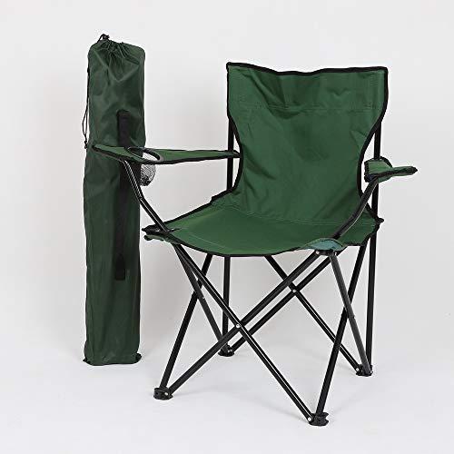 LncBoc Silla de camping plegable al aire libre, ligera, portátil, plegable, con bolsa de transporte y portavasos, marco de acero ligero y portátil, al aire libre, pesca, festival, playa (verde)