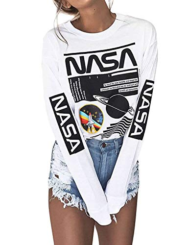 Crew Neck Long Sleeve Letter Printed Shirt Graphic Tee Tops for Women White M