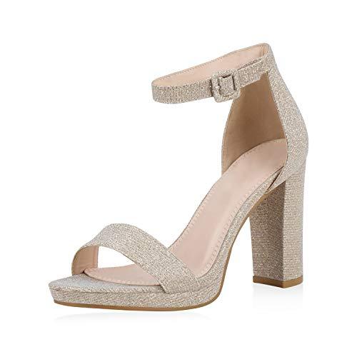 SCARPE VITA Damen Sandaletten High Heels Glitzer Schuhe Schnalle Party Absatzschuhe Blockabsatz Sandalen Abendschuhe 188068 Gold 39