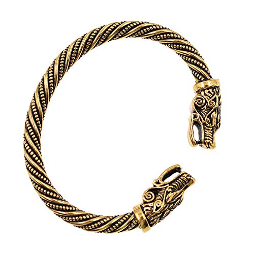 Herren Wolfskopf Armband Geflochtene Stahlkabel Armreif, Verstellbare Wikinger Armreif(Antique Gold)
