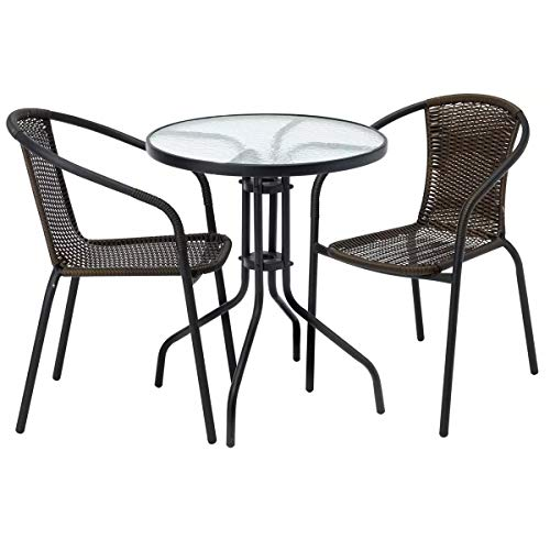 LIVIVO 3 Piece Rattan Garden Patio Furniture Conservatory Glass Table & 2 Chairs Set Contemporary Outdoor Living Garden Conservatory Patio Summer Innovative Comfort