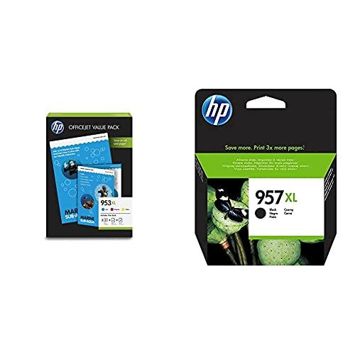 HP1CC21AE 953XL Cartucho de Tinta Original de alto rendimiento + 957XL L0R40AE Negro, Cartucho de Alta Capacidad Original, de 3.000 páginas