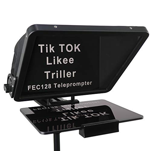 16-inch Large Teleprompter, for All Models iPad and Smartphones, 70/30 Beam Splitter Glass, Aluminum Body and a Suitcase, Any Angle Adjustment, Used to Make Short Videos, Speeches