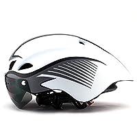 自転車用ヘルメット、 自転車ヘッドライディングヘルメット統合自転車用ヘルメットスポーツ安全マウンテンバイク自転車帽子メンズとレディースヘルメット (Color : White)