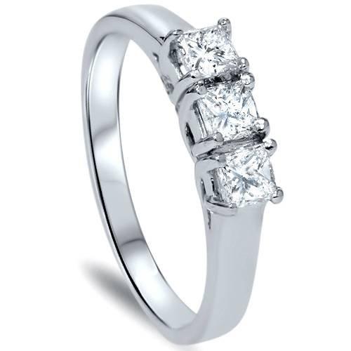 Anillo de diamante de corte princesa de 3 piedras de 1 quilate, oro blanco de 14 quilates