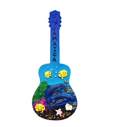 Imán de nevera con forma de guitarra 3D Jamaica para regalo de recuerdo de resina