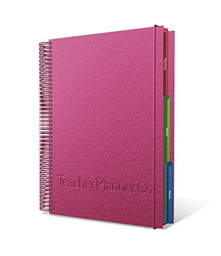 A4 6 Lesson Academic Teacher Planner 2020-21 - Leatherette Pink