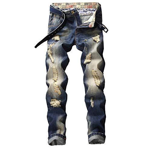 Beastle Pantalones Vaqueros para Hombre Moda Retro Pantalones Vaqueros Rasgados Delgados de Pierna Recta Pantalones Vaqueros Casuales Atractivos con Personalidad a la Moda 30