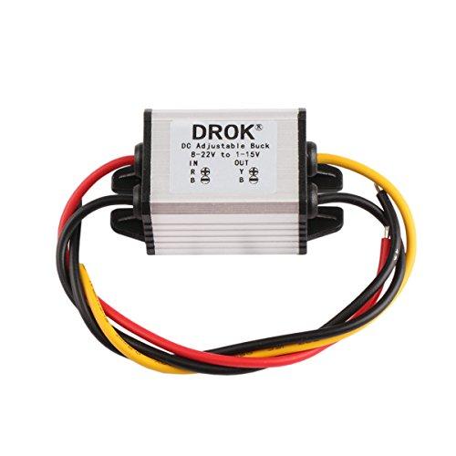 DROK dcdcコンバーター 8-22V〜1-15V 5V 12V 3A 降圧モジュール 電圧レギュレータ 安定器 防水 可変出力電源 変圧器