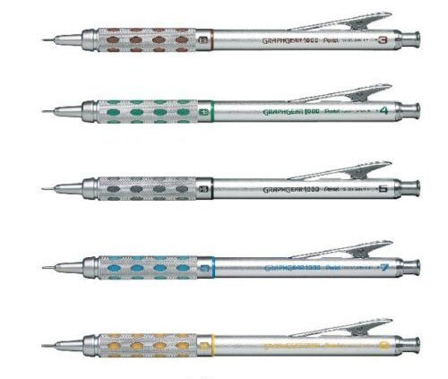 Pentel Graphgear 1000 Automatic Drafting Pencil, 0.3 mm, 0.4 mm, 0.5 mm, 0.7 mm, 0.9 mm 5pics Set