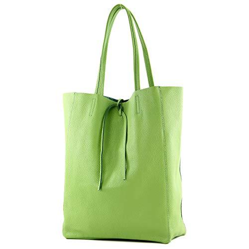 modamoda de - T163 - Ital. Shopper Large mit Innentasche aus Leder, Farbe:Apfelgrün