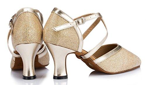 Honeystore Damen's Criss Cross Riemen Metallschnalle Tanzschuhe Gold 39.5 EU - 6