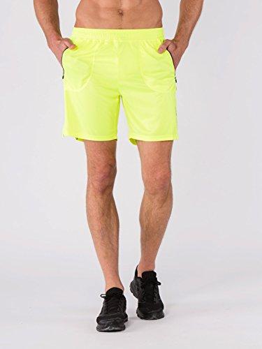 BODYCROSS Short de Course Homme Macéo Jaune Fluo Running, Training - Polyester - Respirant, Léger, 2 Poches Latérales Plaquées A Zip.