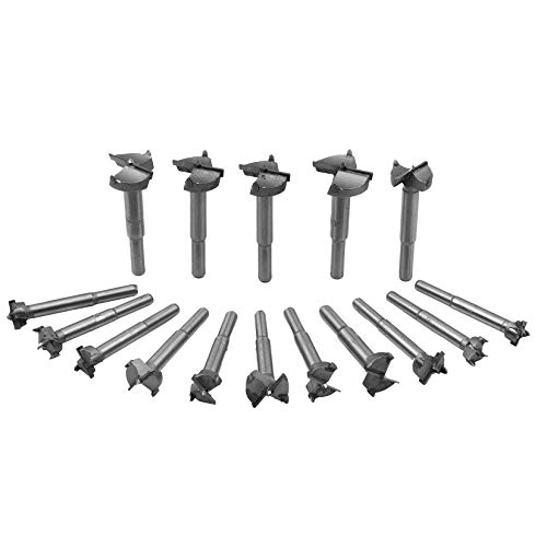16 Pcs Forstner Drill Bits Set (15-35mm), Tungsten Steel Woodworking Hole Saw Set, Wood Cutter Opener for Wood with Round Shank