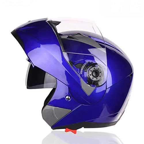 Casco de moto abatible Modular con doble cristal Casco negro Sunny Visor...