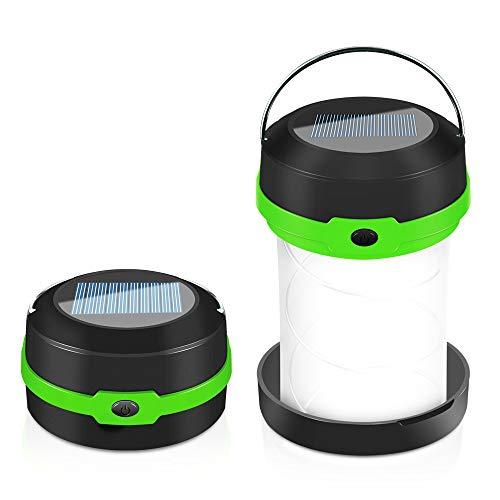 Camping Laterne Taschenlampe Zusammenklappbar, Faltbare Camping Lampe Leuchte Hängen, eignet für Camping, Outdoor, Wandern, Angeln, Abenteuer, Unterstützung Solar-Lade-und USB-Lade