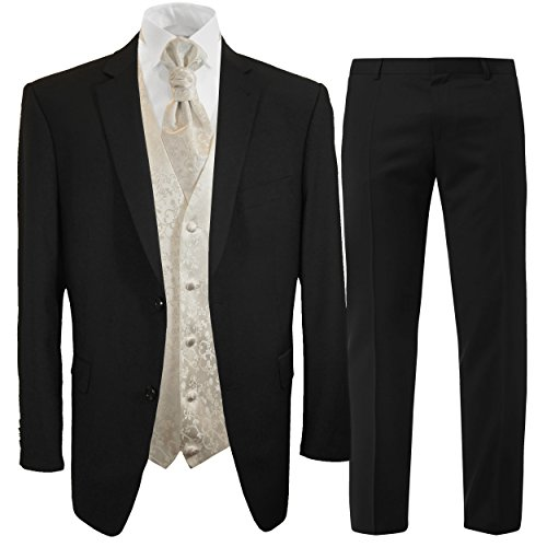 Paul Malone Anzug Hochzeitsanzug Set 7tlg schwarz + Hochzeitswesten Set Ivory + Hochzeitshemd weiß