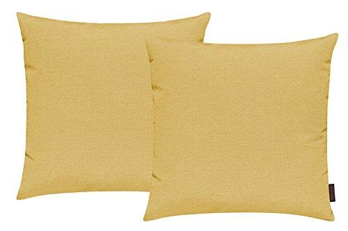 Fino Kissenhülle ca. 50 x 50 cm hochwertig & knitterarm Farbe 44 Sonnengelb (2er Set)