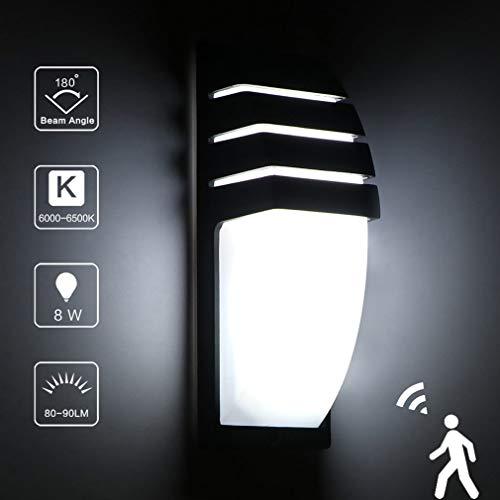 JYK123 Licht LED Außenleuchte – mit Bewegungsmelder & Dämmerungssensor – Ideal für draußen oder Feuchträume – 8W, 2900 Lumen – 6500K Warmes Licht weiß, IP65,Weißeslicht