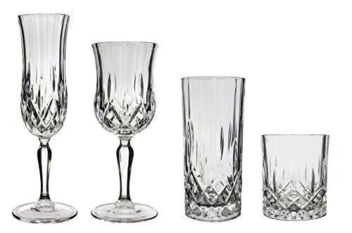 Opera Maison Service de table en cristal italien avec 4 flûtes à champagne (13 cl), 4 verres à vin (23 cl), 4 verres à cocktail (35 cl) et 4 verres à whisky (30 cl) (16 pièces)