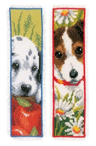 2pcs of Book Mark Cross Stitch Kits Stamped - Dog Pattern, Cross-Stitching Kits 14CT Pre-Printed Fabric - DIY Art Crafts & Sewing Needlepoints Kit for Gifts Decor, (2.13x7.40inch)