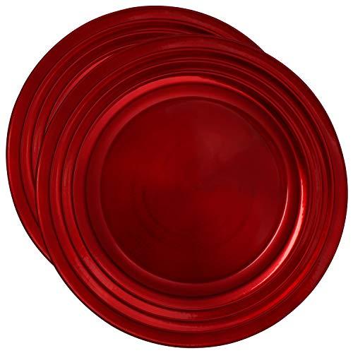 com-four® 2x Platzteller in rot - Unterteller als Tischdekoration - Dekoteller für Hochzeit, Familienfeier oder Weihnachten - Ø 33 cm