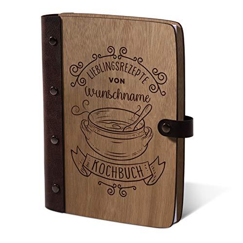 Notizbuch Holzcover mit Echtleder Rücken 72 Blatt | 144 Seiten A5 hoch 158x222mm Okoume Holz - Kochbuch