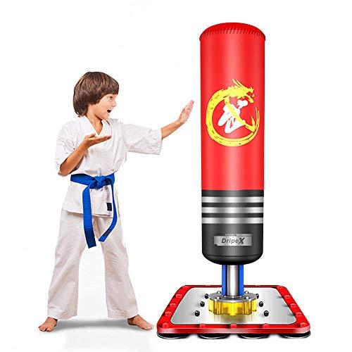 Dripex Boxsack Kinder Freistehender Standboxsack Boxpartner Boxing Trainer Punching Bag(Red)