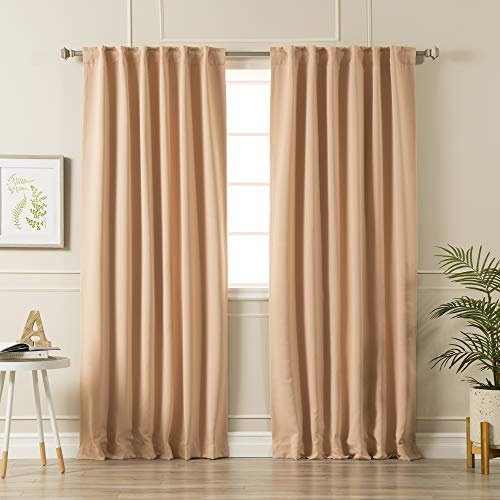 "Best Home Fashion Premium Blackout Curtain Panels - Solid Thermal Insulated Window Treatment Blackout Drapes for Bedroom - Back Tab & Rod Pocket – Mauve - 52"" W x 96"" L - (Set of 2 Panels)"