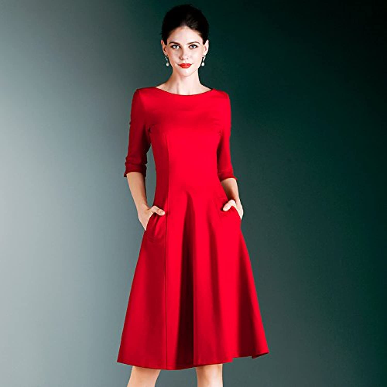 ZHUDJ Autumn Dress Black Female Slim Waist Dress In Large Swing Will Dress