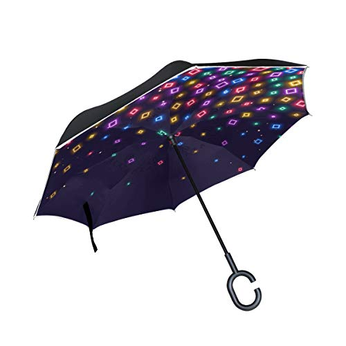 SUSINO Colorful Neon Lights Inverted Umbrella Large Double Layer with C-Shaped Handle UV Sun Protection Upside Down Reversible Graphic Pattern with Reflective Fabric Car Umbrella for Women Men