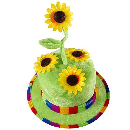 Widmann 2636F Sonnenblumen Hut aus Samt, Grün/Gelb, Einheitsgröße