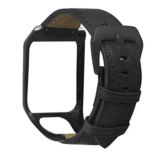 Shenxay - Cinturino da polso sostituito in vera pelle con fibbia in metallo, per TomTom Runner 2 3/Spark 3 Cardio/Musica/Avventuriero/Golfista 2 accessori per orologio