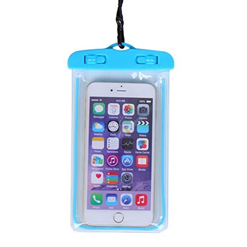 ZZALLL19x10.5cm Funda Impermeable Universal Luminosa bajo el Agua Bolsa Seca para teléfono móvil Transparente Funda para teléfono portátil con Correa para el Cuello - Azul
