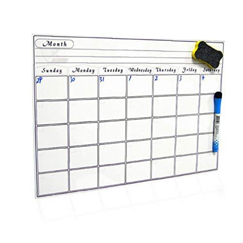 Hiinice Calendario magnética Pizarra Pizarrón Blanco para su refrigerador, Cocina y Oficina - Negro Elegante mensual Diseño Planificador para Todas Sus Actividades para niños 30 * 42cm