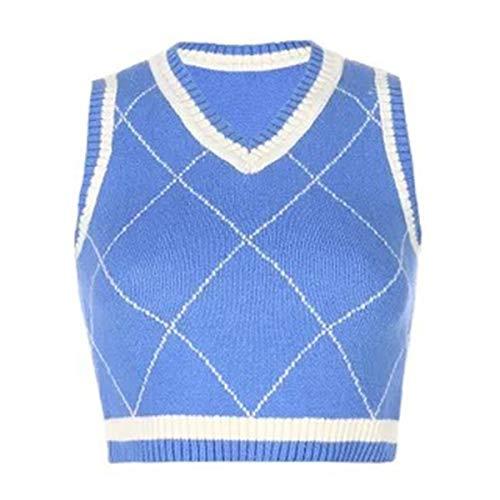 COCOPHIE C Damen Cardigans Pullover Casual Diamond Check Kurzarm V-Ausschnitt Argyle Strick Crop Tops