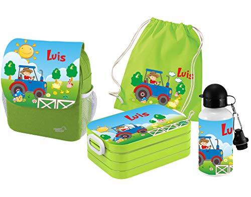Mein Zwergenland   Personalisertes Kindergartenrucksack-Set   Kinderrucksack mit Name   Lunchbox Maxi mit Name   Turnbeutel aus Baumwolle mit Name   Personalisierte Trinkflasche   Grün   Traktor