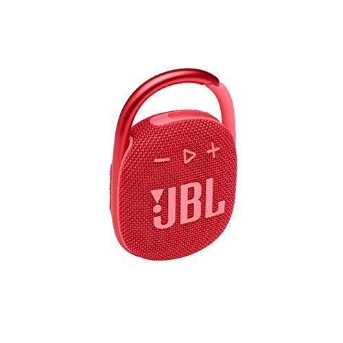JBL CLIP 4 Bluetooth Lautsprecher in Rot – Wasserdichte, tragbare Musikbox mit praktischem Karabiner – Bis zu 10 Stunden kabelloses Musik Streaming