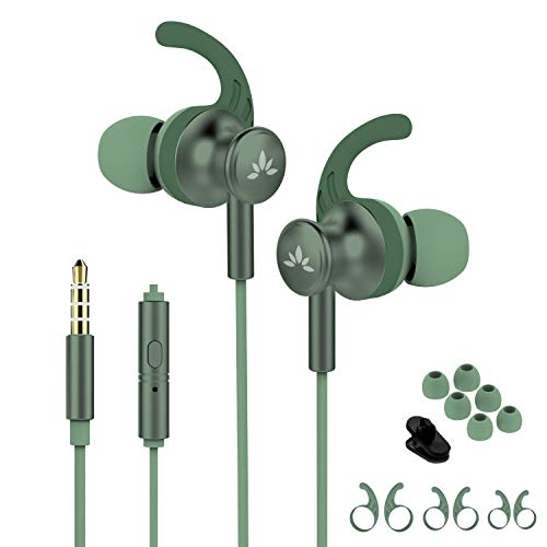 Avantree ME12 Green Sports Earbuds Wired with Microphone, Sweatproof Running Earphones with Earfin, Metal In Ear Headphones for Workout Exercise Gym, Compatible with iPhone iPod Android Cell Phones PC