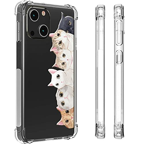 HUIYCUU for iPhone 13 Case for Women Girls 6.1', Shockproof Anti-Slip Cute Animal Print Clear with Design Pattern Funny Slim Crystal Soft Bumper Cover Case Compatible with iPhone 13, Colorful Cats