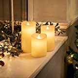 Christow 3 x Flickering Flameless LED Candles, Real Wax, Battery Powered Mood Lights, Remote Control with Timer & Brightness Function