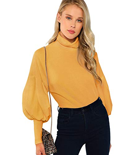 Romwe Women's Casual High Neck Pullover Tops Long Sleeve Sweatshirt Yellow L