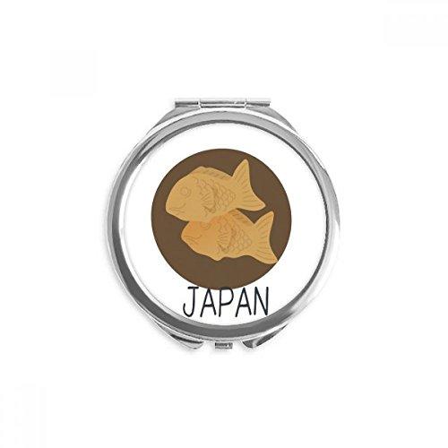 DIYthinker Espejo de aperitivos de pescado local tradicional japonesa redonda portable de la mano del maquillaje del bolsillo